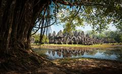 Adventure background of famous travel destination in Cambodia. Old temple Stock Photos