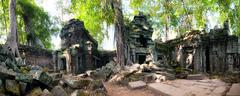 Panoramic view hidden in jungle forest of Ta Prom ancient temple Stock Photos