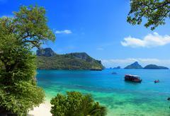 Exotic beautiful landscape of Thailand sea. Angthong marine park near koh Sam Stock Photos