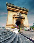 HDR photography of Patuxai Arch monument in Vientiane, Laos Stock Photos