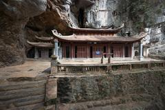 Bich Dong cave Pagoda in Ninh Binh Vietnam. Travel destination and landmark Stock Photos