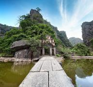 Stock Photo of Ninh Binh Vietnam, Bich Dong Pagoda travel landmark