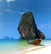 Travel boat on Thailand island beach. Tropical coast Asia landscape backgroun Stock Photos