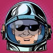 emoticon spy Emoji face man astronaut retro - stock illustration