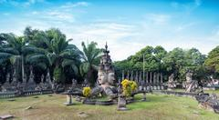 Laos Buddha park.Tourist attraction and public park in Vientiane - stock photo