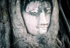 Smiling face of Buddha carved on stone in Ayutthaya - stock photo