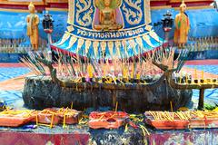 Abstract and colorful religion Buddhist altar in traditional temple in Thaila Stock Photos