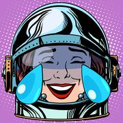 emoticon tears of joy Emoji face woman astronaut retro - stock illustration