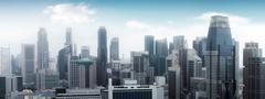 Singapore skyline panoramic view. High modern skyscrapers Kuvituskuvat