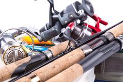outdoor fishing tackles and baits - stock photo