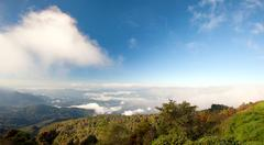 Thailand highest mountain peak of Doi Inthanon in Chiang Mai panoramic view Stock Photos