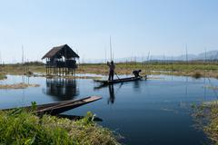 Rural Myanmar travel destination. Inle Lake village Stock Photos