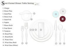 Detailed of Semi-Formal Dinner Place Setting Diagram - stock illustration