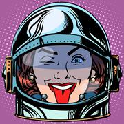 Emoticon tongue Emoji face woman astronaut retro Stock Illustration