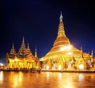 Shwedagon golden pagoda in Myanmar,  Yangon Stock Photos