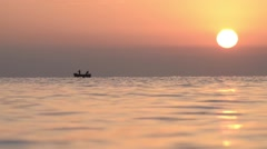 Fishermen who were out at sea to fisheries with a boat in the early morning Stock Footage