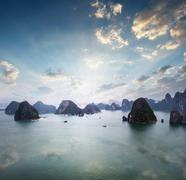 Aerial view of amazing natural formations of Halong Bay. Many islands across  Stock Photos