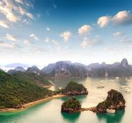 Archipelago of many islands in Halong Bay in Vietnam - stock photo