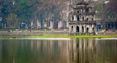 Turtle tower or Tortoise tower panorama in Hoan Kiem lake in Hanoi, Vietnam Stock Photos