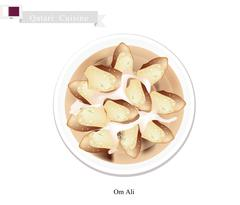 Om Ali or Puff Pastry with Nuts and Whipped Cream Stock Illustration