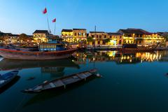 Hoi An ancient town evening illumination - stock photo