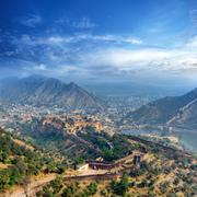 India Jaipur Amber fort in Rajasthan. Ancient indian palace architecture pano Stock Photos