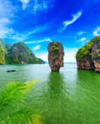 James Bond island Thailand travel destination. Phang Nga bay archipelago Stock Photos