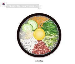 Stock Illustration of Bibimbap or Korean Mixed Rice with Meat, Vegetables and Egg
