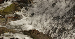 Waterfall in spring time with icicles on the rocks Stock Footage