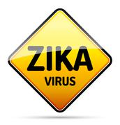 Zika virus warning sign with reflect and shadow on white background. Isolated Stock Illustration