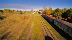 The old railways with old trains on the side Stock Footage