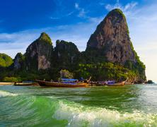 Beautiful nature of Thailand background. Boats and mountains in sea water Kuvituskuvat
