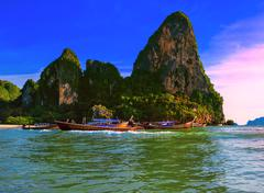 Thailand tropical nature beautiful landscape. Sea cost touristic background Stock Photos