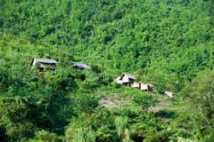 Traditional village on river side of Mekong in Laos, Asia - stock photo