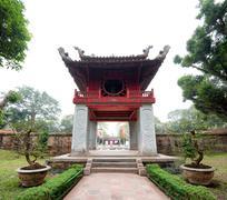 Landmark of Hanoi city in Vietnam - Temple of Literature Stock Photos