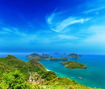 Ko Samui travel destination in Thailand aerial panoramic view of islands arch - stock photo