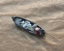 Vendor boat in Mekong delta Cai Rang floating market in Can Tho Vietnam Stock Photos