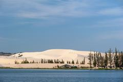 Mui Ne, White Sand Dunes landmark and travel destination in Vietnam Stock Photos