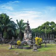 Laos Buddha park. Tourist attraction and public park in Vientiane Stock Photos