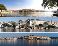 Indian architecture in Udaipur Rajasthan. Panoramic view of Pichola lake Stock Photos
