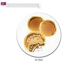 Ho Dduk or Korean Sugar Filled Pancake - stock illustration