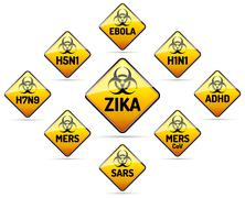 ZIKA, MERS, SARS, H5N1 Biohazard virus sign - stock illustration