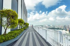 Rooftop panorama from Pinnacle at Duxton skyscraper in Singapore Stock Photos
