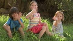 Children waving at camera - stock footage