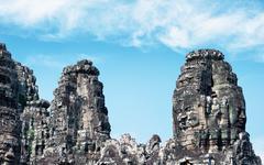 Angkor Wat Cambodia. Bayon temple in Angkor Thom historical place Stock Photos