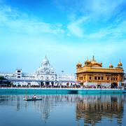 Amritsar golden temple in India - stock photo