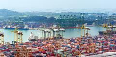 Commercial port of Singapore. Bird eye panoramic view of busiest Asian cargo por - stock photo
