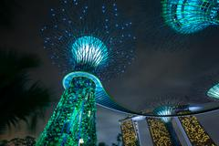 Singapore travel destination and landmark - Supertree Grove Gardens by the Ba Stock Photos
