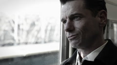 Man on subway train Stock Footage