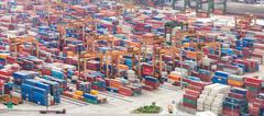 Many containers boxes ready for shipping from port of Singapore Stock Photos